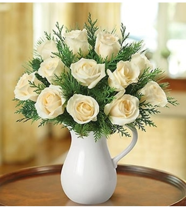 Winter White Pitcher of Roses