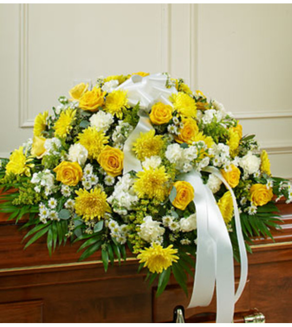 Cherished Memories Half Casket Cover - Yellow