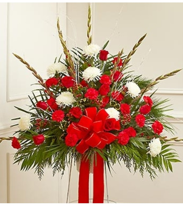 Sympathy Standing Basket in Christmas Colors