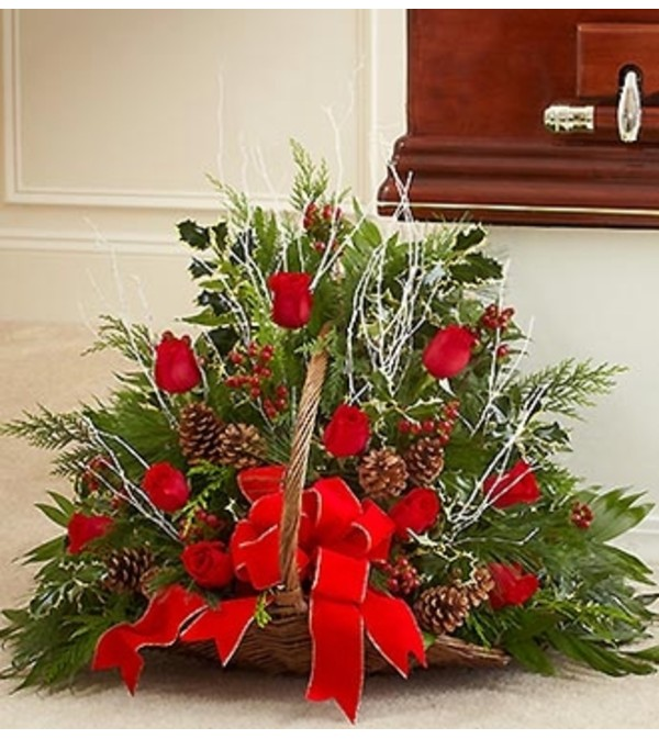 Sympathy Fireside Basket in Christmas Colors