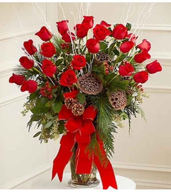 Sympathy Vase Arrangement in Christmas Colors