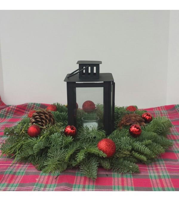 Fresh Christmas wreath with lantern