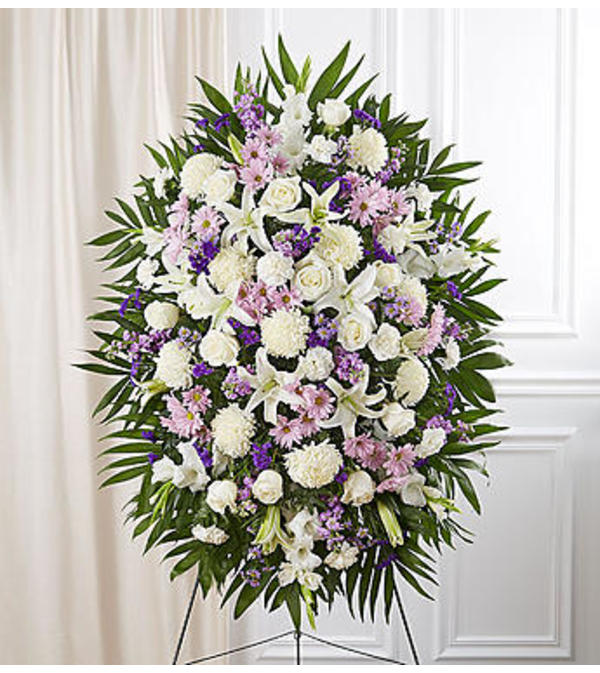 Lavender & White Sympathy Standing Spray