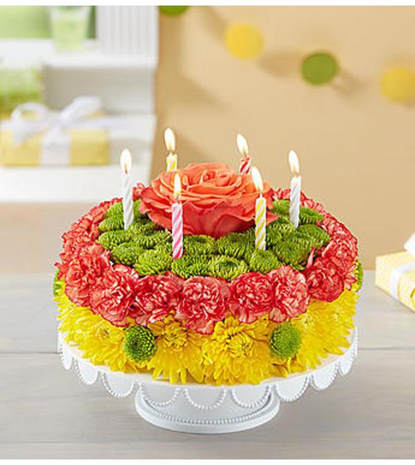 Birthday Wishes Flower Cake™ Yellow