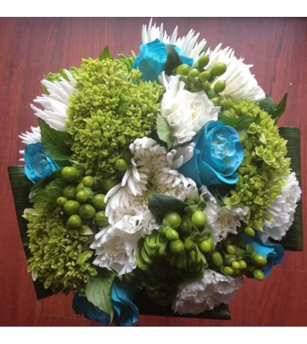 Lime & Teal Bridal Bouquet