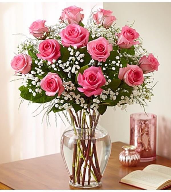 Rose Elegance™ Premium Pink Roses - 1 Dozen