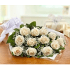 Perfectly wrapped white roses premium
