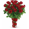 Swirling Hearts Vase With Red Roses deluxe