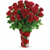 Swirling Hearts Vase With Red Roses premium