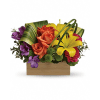 Send her a rainbow! Golden lilies, radiant roses and regal al standard