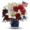 Patriotic Blue Cube Bouquet standard