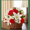Basket Arrangement-Red & White