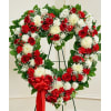 Open Heart Wreath-Red & White