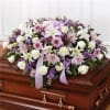 LAVENDER AND WHITE CASKET SPRAY MEMORIES standard