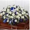 All Blue and White Rose Half Couch Casket Spray deluxe