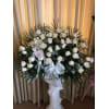 Wicker Basket of White Roses premium