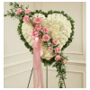 Sympathy Heart With Pink Rose Break standard