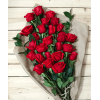 24 RED ROSES LOOSE WRAPPED WITH GREENS AND FILLERS deluxe