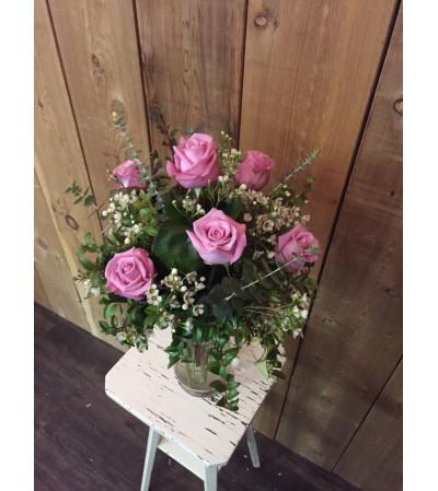 6 Pink Roses Arranged