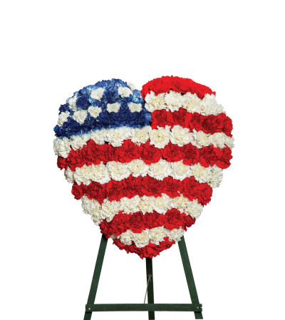 PATRIOTIC HEART STANDING SPRAY     FS565