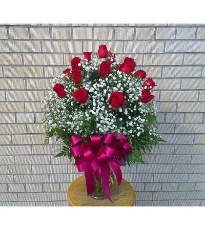 18 Long Stem Rose Vase