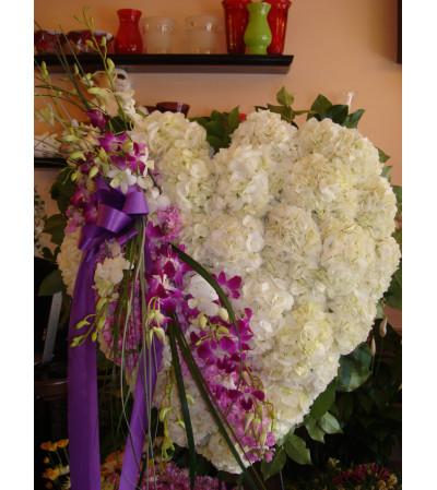 Tarrytown Floral Designs Sympathy Hydrangea & Orchids Heart