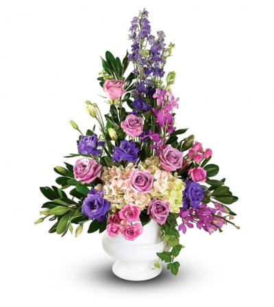 Purple Blooms Sympathy Basket Urn