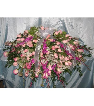 Pink Rose Casket Cover  GF-CC3