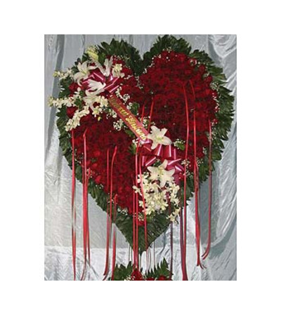 Bleeding Heart Red Roses with White Lillies  GF-H6