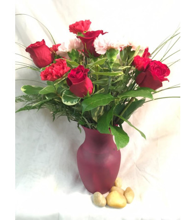 Simply Elegant Red Rose and Carnation Arrangement