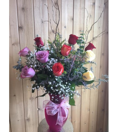 Premium Mixed Dozen Roses Vased