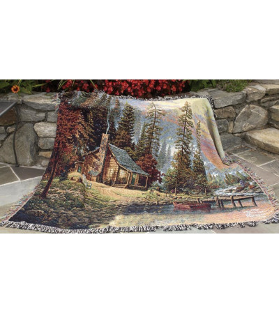 PEACEFUL RETREAT CABIN THOMAS KINKADE MEMORIAL THROW