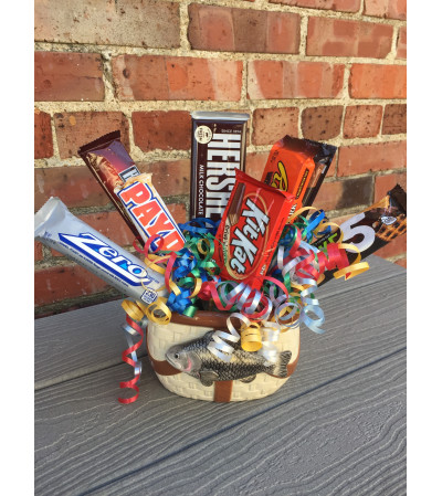 Ceramic Fish Basket Candy Bouquet