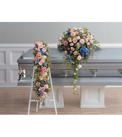 Pink and Lavender Cascading Casket Spray SF86-12
