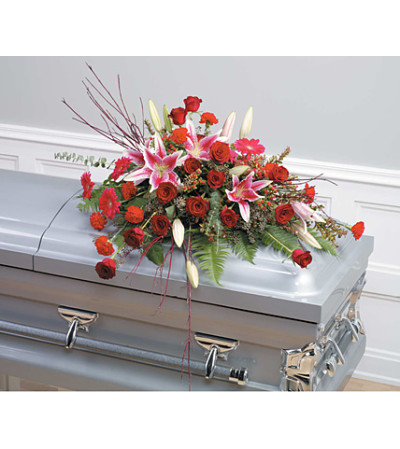 Pink and Red Casket Spray SF57-11