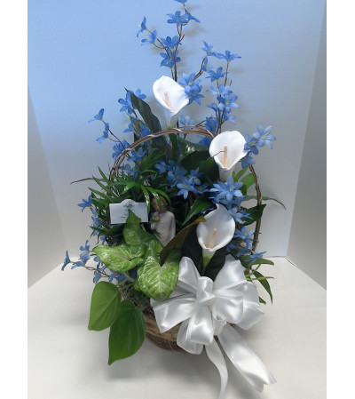 """10"""" Planter with silk flowers and a Willow Tree angel"""