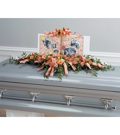 Scrapbooking Themed Casket Spray