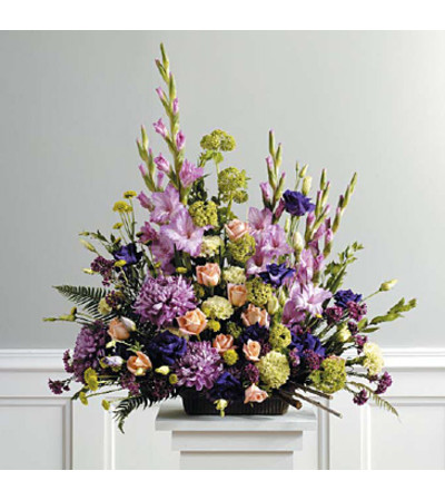 Purple, Peach, Green Traditional Arrangement SF39-21