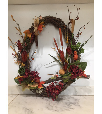 Fall Wreath with Maize and Cattails