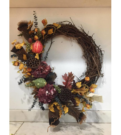 Turkey Feather Fall Wreath