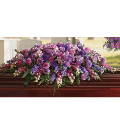 SHADES OF PURPLE & PINK CASKET SPRAY