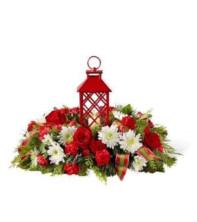 CHRISTMAS FLORAL RED LANTERN