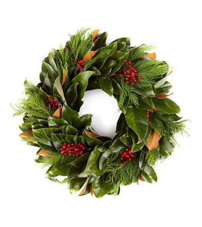 Fresh Magnolia and Christmas greens Wreath