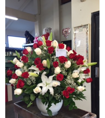 4 doz red and white roses
