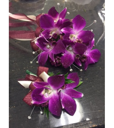 all Bombay orchid corsage and boutonniere