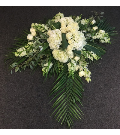 White Cascade Casket Flowers