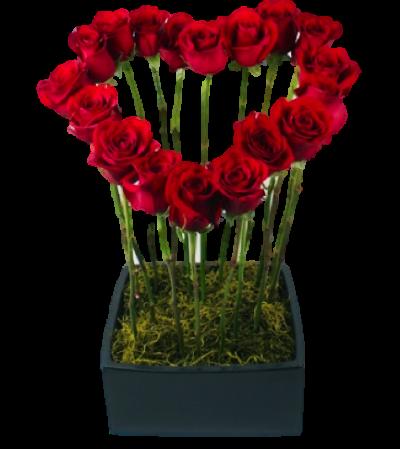Heart Shape Red Roses