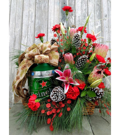 LARGE ARRANGEMENT BUILT AROUND CUSTOM GIFT