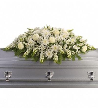 All white casket spray