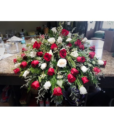 White and Red Rose Casket Piece